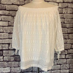 Chico's White Lace Top Size Large
